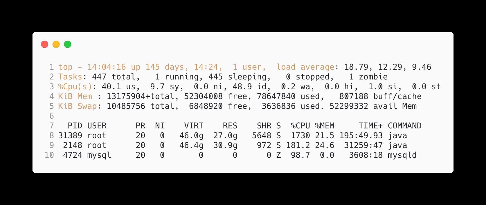 Linux服务器的晴雨表——top命令
